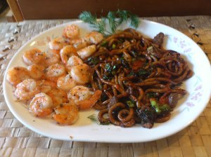 Saute Shrimps with Singaporean Noodles