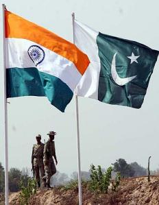 INDIA PAKISTAN FLAGS ON THE BORDERS